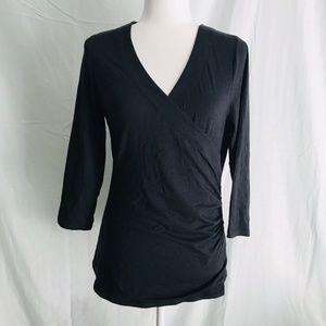 Soft surroundings medium blouse V-neck wrap 3/4